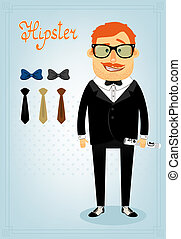 Hipster character pack for business man with accessory...