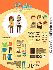 Hipster infographics with fashion design elements for...