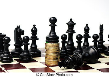 power of the money concept Chess paun standing on the money...