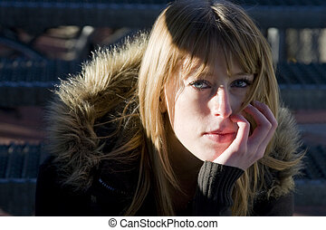 Young Female with Pensive Expression
