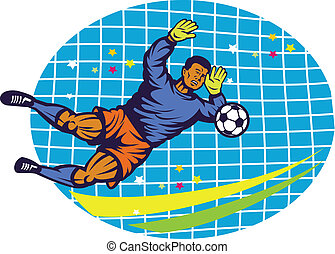 Goalie Football Player Retro - Illustration of a goalie goal...