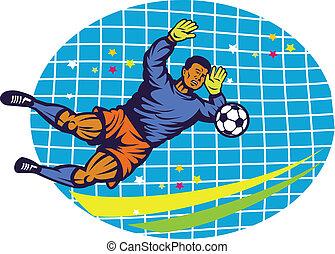 Goalie Football Player Retro - Illustration of a goalie goal...
