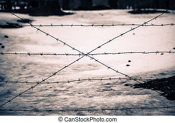 Barricade - rusty barbed wire in a snowy countryside
