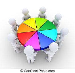 People holding pieces of pie chart - 3d people are holding...
