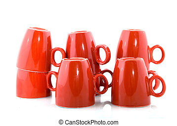 Red coffee mugs - Stacked red coffee mugs