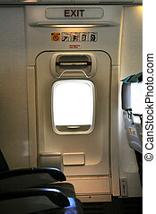 Emergency exit door. - Emergency exit row. Passenger cabin...