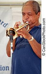 Jazz trumpet player. - African american jazz trumpet player...