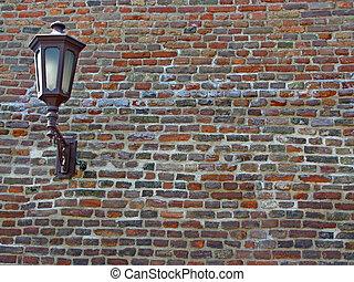 Brick wall with lantern