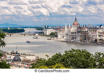 The building of the Parliament in Budapest, Hungary - The...