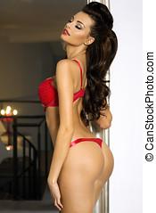 Sensual brunette posing in lingerie - Sexy brunette woman...