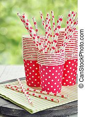 vermelho, papel, copos, listrado, palhas