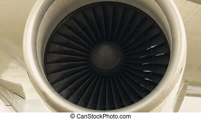 Jet engine of an airplane detail in a loop.