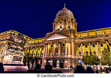 shot of night Buda Castle in Budapest, Hungary - Royal...