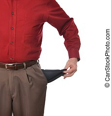 Empty Pockets - Man with empty pockets against a white...