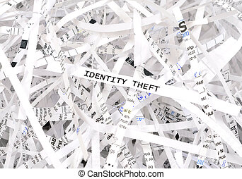 Identity theft text surrounded by shredded paper. Great...