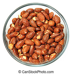 Glass Bowl of Salted Roasted Almonds