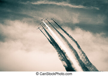 Airshow in the past - The italian acrobatic jet squad named...