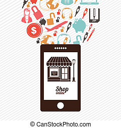 shop on line  over white  background. vector illustration