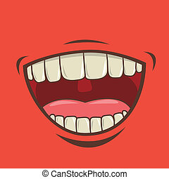 mouth design over red  background vector illustration