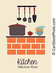 kitchen design over pink background vector illustration