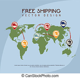 shipping design over blue background vector illustration