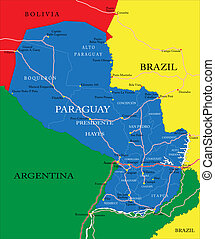 Paraguay map - Highly detailed vector map of Paraguay with...