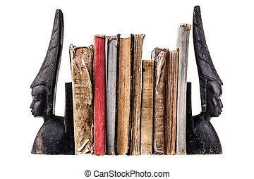 Old books - very ancient and worn books isolated over white...