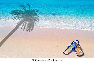 palm and flip flop - pink paradise beach with flip flop and...
