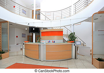 Front desk - Modern company entrance with front desk...