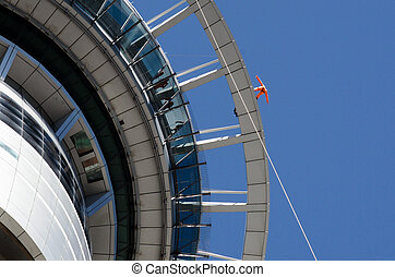 Auckland Cityscape - AUCKLAND, NZ - JAN 02: Person skywalk...