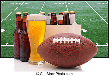 Beer Bottles and American Football - Six pack of beer and...