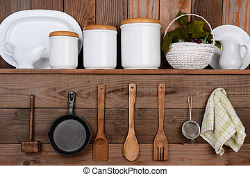Rustic Kitchen - Closeup of a rustic kitchen wall. One shelf...