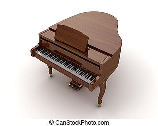 Grand piano - Brown grand piano isolated on light background