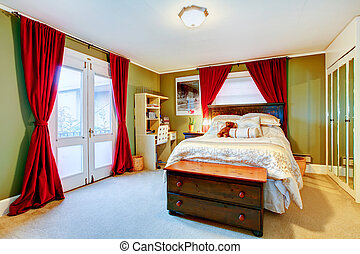 Green and red cozy young adult room