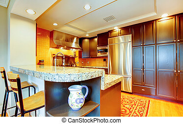 Shiny kitchen with black wood cabinets and steel appliances