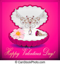 illustration of a postcard on Valentines day with a necklace ring flower and a box of