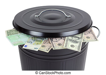 %u0E3ABanknotes in a trash can - Euro and Dollar banknotes...