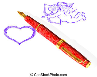 Fountain pen, heart and Cupid - The three-dimensional image...