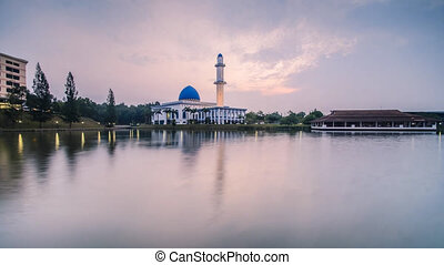 Timelapse Sunrise At Mosque - Timelapse of reflection of...