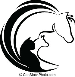 Horse cat and dog stylized logo