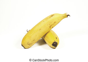 Two Isolated Ripe Yellow Bananas on White - two isolated...