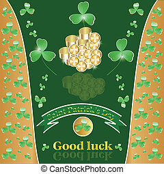 St. Patrick's Day  with clover and gold.
