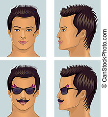 Showman brunet head with mustache - Vector illustration of...
