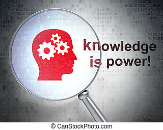 Education concept: Head With Gears and Knowledge Is power! with optical glass