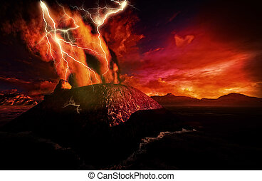 Anak Krakatau erupting - fantasy illustration