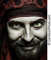 Closeup portrait of funny bizarre spooky man - Close up...