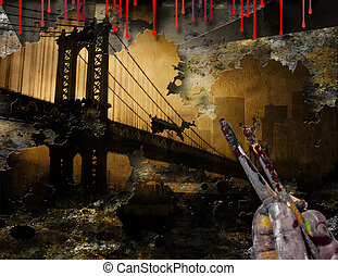 Brooklyn Bridge NYC Painting With Artist Hand and Brushes