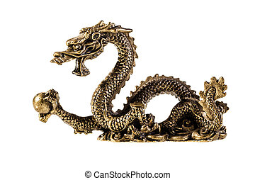 Golden Dragon - an ancient metallic golden dragon isolated...