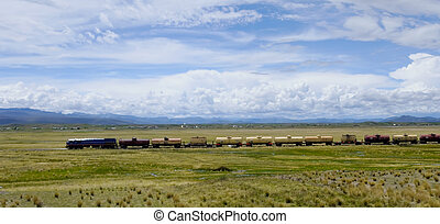 train on the Peruvian Altiplano