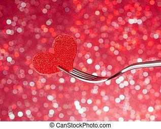 restaurant series, valentine day dinner on red light bokeh...